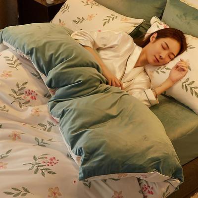 2019新款-A棉B绒水晶绒四件套 床单款1.2m(4英尺)床 甜蜜梦乡