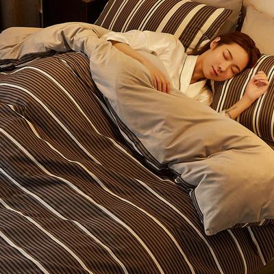 2019新款-A棉B绒水晶绒四件套 床单款1.2m(4英尺)床 条纹黑