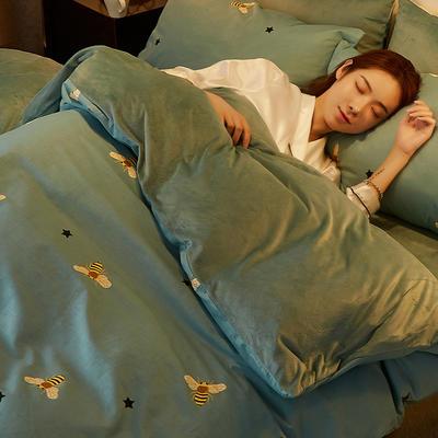 2019新款-A棉B绒水晶绒四件套 床单款1.2m(4英尺)床 小蜜蜂