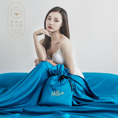 2019新款60支长绒棉隔脏睡袋 蓝色(160*210cm)