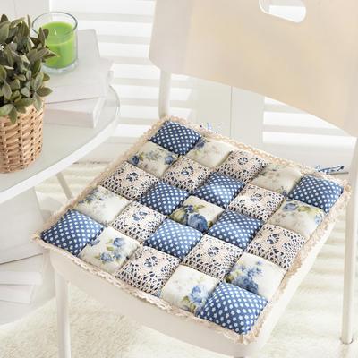 美优兰馒头坐垫 42*42(含花边) 蓝牡丹