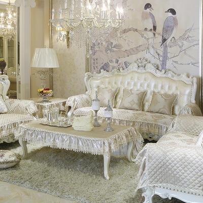 美优兰3D立体绣雪尼尔沙发垫(一帘幽梦系列 欧式沙发拍摄) 抱枕套45*45(不含芯) 一帘幽梦-香槟金