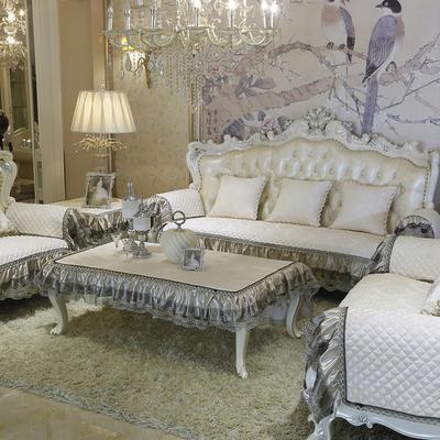 美优兰3D立体绣雪尼尔沙发垫(穆纱系列 欧式沙发拍摄) 抱枕套45*45(不含芯) 穆纱-米白