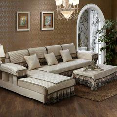 美优兰3D立体绣雪尼尔沙发垫(穆纱系列 组合沙发拍摄) 80*180+17cm 穆纱-米白