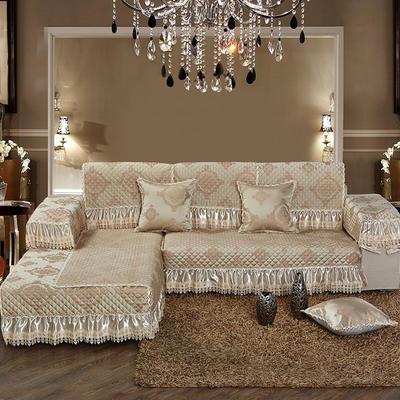 美优兰3D立体绣雪尼尔沙发垫(一帘幽梦系列 组合沙发拍摄) 抱枕套45*45(不含芯) 一帘幽梦-香槟金