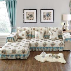 美优兰2018色织亚麻提花沙发垫 90+17cm垂边*210 西雅图-薄荷绿