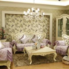 美优兰欧式田园风提花沙发垫 65+17cm垂边*70 倾城之恋-紫