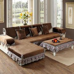 美优兰2016冬季新款意大利绒沙发垫 80+17cm垂边*180 伊莉莎-咖色