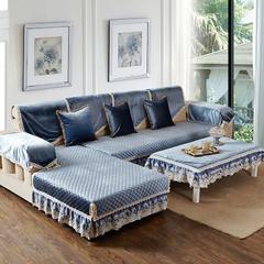 美优兰冬季新款意大利绒沙发垫 80+17cm垂边*180 伊莉莎-蓝灰