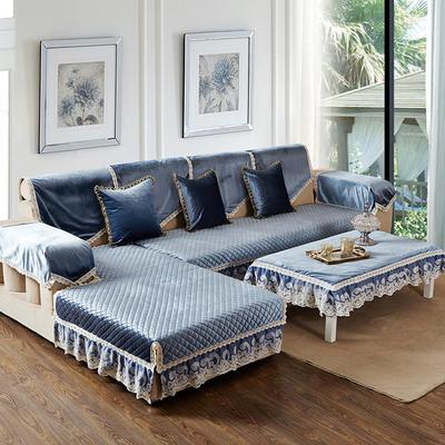 美优兰冬季新款意大利绒沙发垫 靠背扶手巾67*78单层布 伊莉莎-蓝灰