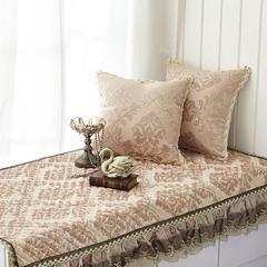 美优兰3D立体绣系列飘窗垫 45*45抱枕套(不含芯) 穆纱-咖啡