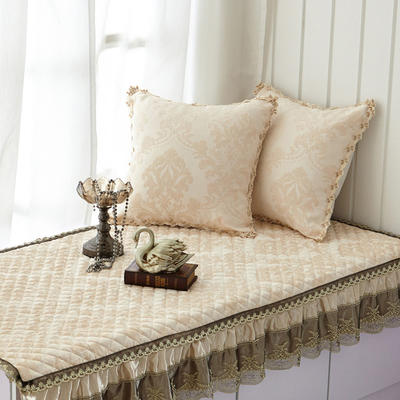 美优兰3D立体绣系列飘窗垫 45*45抱枕套(不含芯) 穆纱-米白