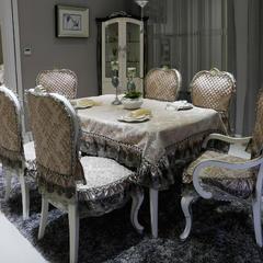 欧式餐椅垫桌布(3D立体绣系列) 桌布130*180cm(含17cm垂边) 穆纱-咖啡
