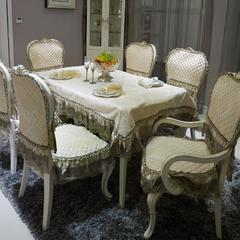 欧式餐椅垫桌布(3D立体绣系列) 桌布110*160cm(含17cm垂边) 穆纱-米白