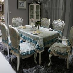 欧式餐椅垫桌布(3D立体绣系列) 椅靠背(宽55cm,高67cm含17cm 一帘幽梦-绿