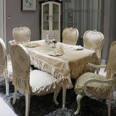 欧式餐椅垫桌布(3D立体绣系列) 桌布110*160cm(含17cm垂边) 一帘幽梦-香槟金