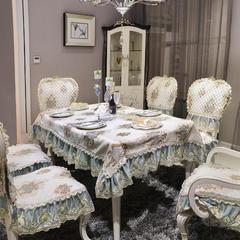 欧式餐椅垫桌布(西雅图系列) 桌布180*180cm(含17cm垂边) 西雅图-薄荷绿