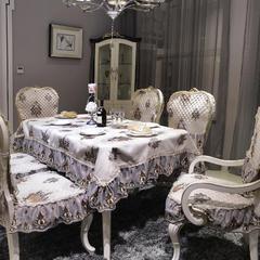 欧式餐椅垫桌布(西雅图系列) 桌布130*180cm(含17cm垂边) 西雅图-雍容咖