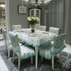 中式餐椅垫桌布 桌布180*180cm(含垂边) 安娜花园-绿