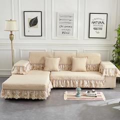 沙发垫四季通用欧式布艺防滑简约现代全包萬能坐垫沙发罩巾套全盖 80+17垂边*240cm 水梦幽兰-米色