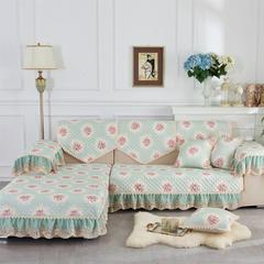 2018新款竹节麻沙发垫(花季系列) 抱枕套45*45(不含芯) 花季-绿