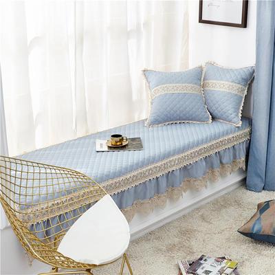 2019新款北欧色织提花飘窗垫(简陌系列) 65*150+17cm垂边 简陌-淡蓝
