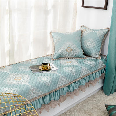 2019新款高精密3D刺绣飘窗垫(维纳斯系列) 65*150+17cm垂边 维纳斯-绿色