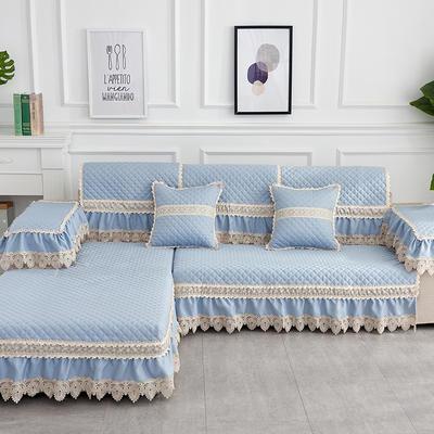2019新款色织提花沙发垫(简陌系列) 80+17cm垂边*210 简陌-淡蓝