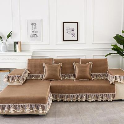 2019新款夏冰藤系列沙发垫 65+17cm垂边*70 冰藤条纹咖