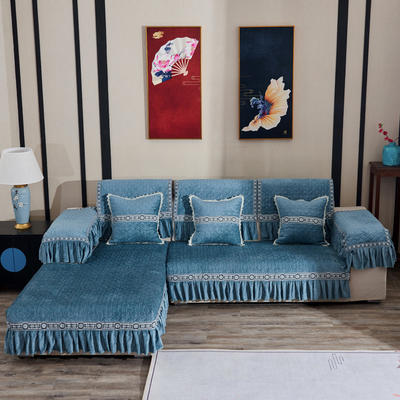 2019新款梦娜系列沙发垫 扶手38*70(三边17cm垂边) 梦娜-绿色