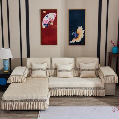 2019新款梦娜系列沙发垫 扶手38*70(三边17cm垂边) 梦娜-米色