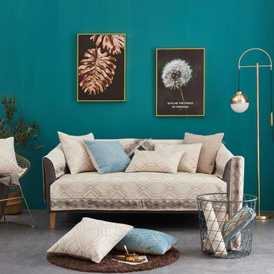 2019新款时尚格调沙发垫系列 抱枕套45*45(不含芯) 时尚格调-米色
