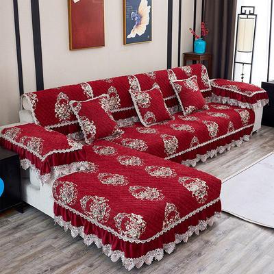 2019新款富贵花开沙发垫 抱枕套45*45(不含芯) 富贵花开-红色