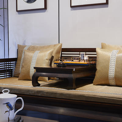 冰藤中式沙发靠枕 抱枕套45*45 冰藤帝王黄沙发