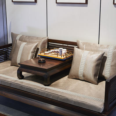 冰藤中式沙发靠枕 抱枕套45*45 冰藤红棕沙发
