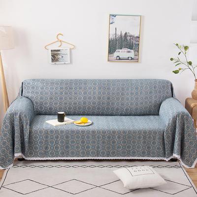 2020新款全盖式雪尼尔沙发巾/沙发套/沙发垫 180*150cm(适合单人老板凳) 米字格蓝