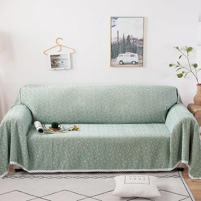 2020新款全盖式雪尼尔沙发巾/沙发套/沙发垫 180*180cm(适合单人位沙发) 米字格绿