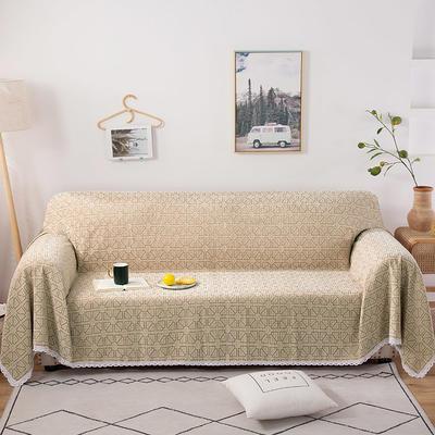 2020新款全盖式雪尼尔沙发巾/沙发套/沙发垫 180*150cm(适合单人老板凳) 米字格驼