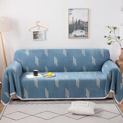 2020新款全盖式雪尼尔沙发巾/沙发套/沙发垫 180*180cm(适合单人位沙发) 竖条蓝