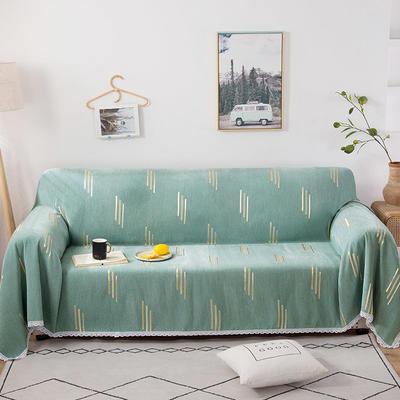 2020新款全盖式雪尼尔沙发巾/沙发套/沙发垫 180*180cm(适合单人位沙发) 竖条绿