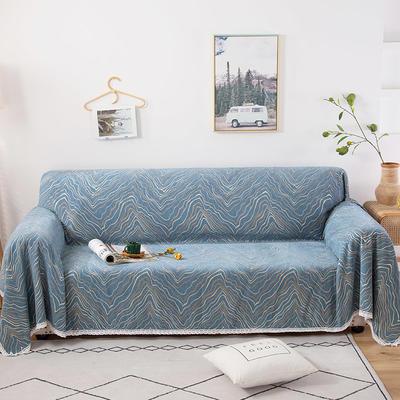 2020新款全盖式雪尼尔沙发巾/沙发套/沙发垫 180*150cm(适合单人老板凳) 水波纹蓝