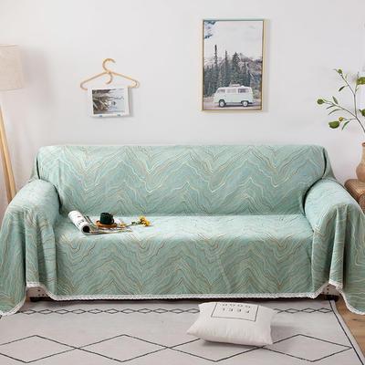 2020新款全盖式雪尼尔沙发巾/沙发套/沙发垫 180*150cm(适合单人老板凳) 水波纹绿