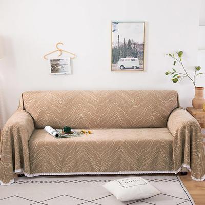 2020新款全盖式雪尼尔沙发巾/沙发套/沙发垫 180*150cm(适合单人老板凳) 水波纹咖