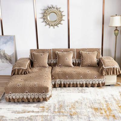 2020新款风铃花系列沙发垫 扶手38*70cm(三边17cm垂边) 风铃花咖