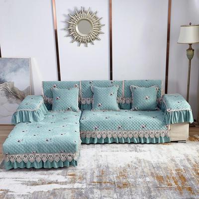 2020新款风铃花系列沙发垫 扶手38*70cm(三边17cm垂边) 风铃花蓝