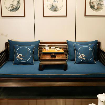 2020新款中式海绵沙发垫 38*45*3 坐垫 平织蓝
