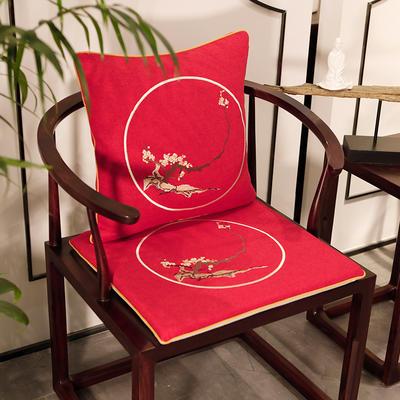 2020新款新中式椅垫 38*45*3 坐垫 花枝俏红