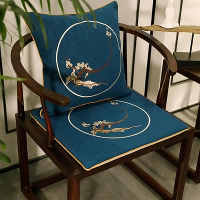 2020新款新中式椅垫 38*45*3 坐垫 花枝俏蓝