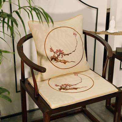 2020新款新中式椅垫 38*45*3 坐垫 花枝翘米白