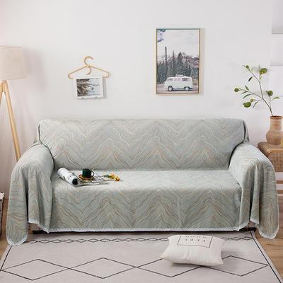 2020新款全盖式雪尼尔沙发巾/沙发套/沙发垫 180*180cm(适合单人位沙发) 水波纹灰